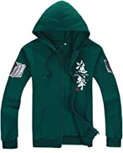 Shingeki No Kyojin Ataque a los titanes - Sudadera con capucha, con cremallera, disfraz, cosplay, diseño de logo con alas verde Large