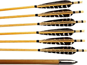 Huntingdoor 12 Pcs Turkey Feather Fletching Wooden Target Arrows with Field Points for Recurve Bow or Longbow