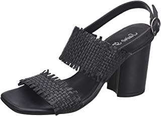 Saint G Black Leather Woven Block Heel Sandals