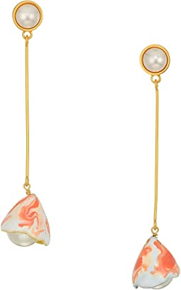 Painted Pearl Linear Earrings