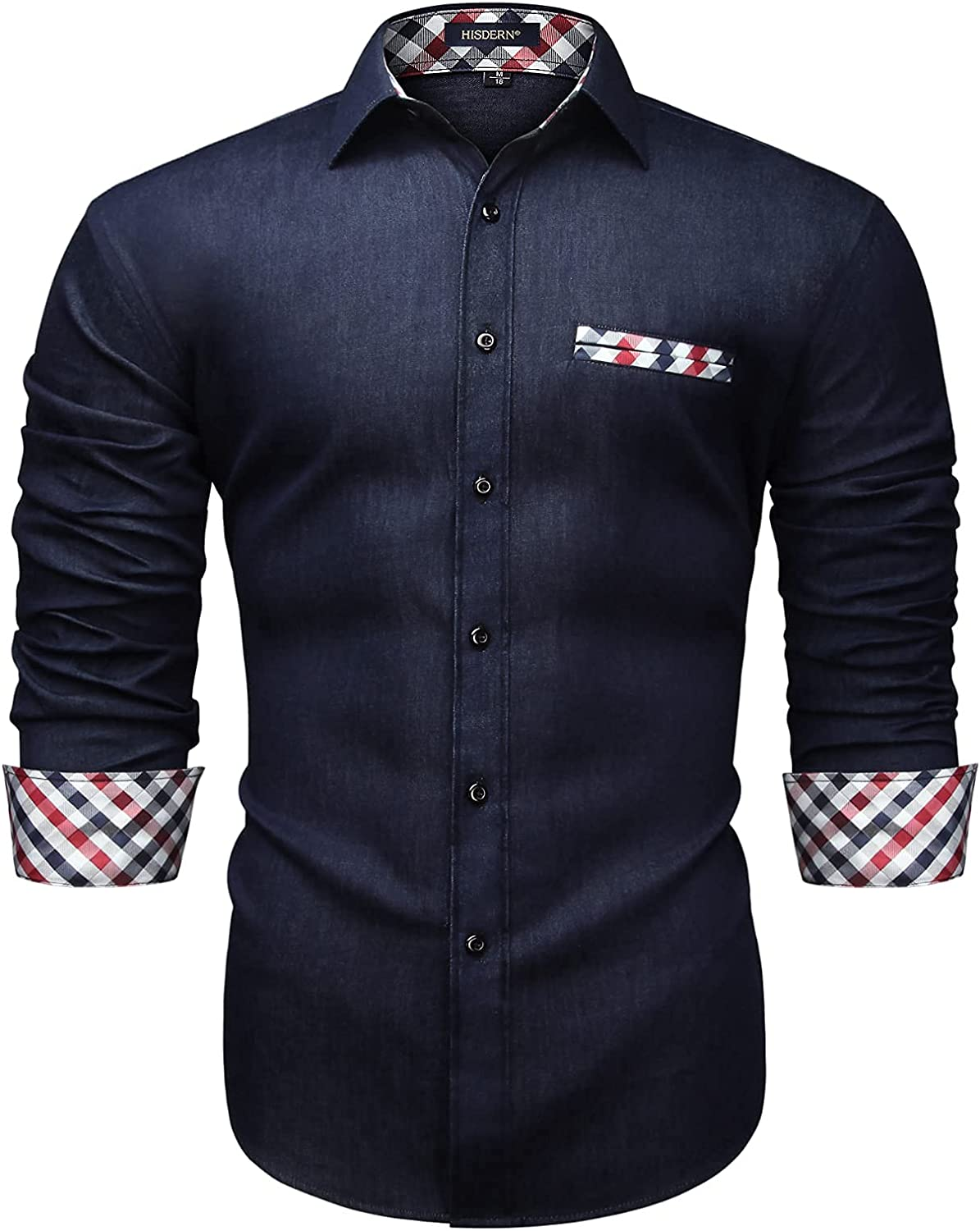 Enlision Men's Dress Shirt Casual Contrast Shirts Button Down Long-Sleeve Shirts Slim Fit Denim Work Shirt for Business Party