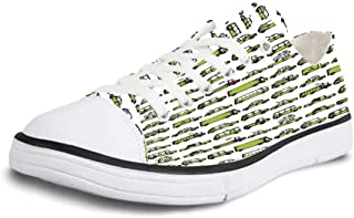 K0k2t0 Canvas Sneaker Low Top Shoes,Camouflage,Military Green Pattern Abstract Formless Design Blending into The Forest Decorative