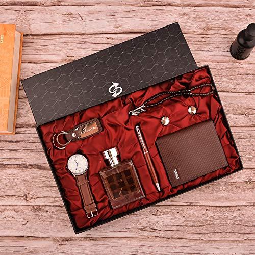 Geschenkset,Geschenkset for Man Watch,Gürtel,Geldbörse,Parfüm, Schlüsselanhänger Stift Set Valentinstag,B