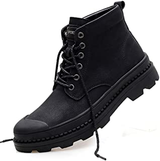 Dr. Martin unisex boots Retro wild men's leather shoes trendy tooling outdoor leather boots waterproof leather short army boots Shock absorption anti-skid design (Color : Black, Size : 46)