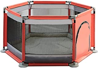 YEHL Playpen Baby with Mattress 6-Panel Toddler Portable Playard Children s Security Fence Indoor Safety Colors   color Gray pink