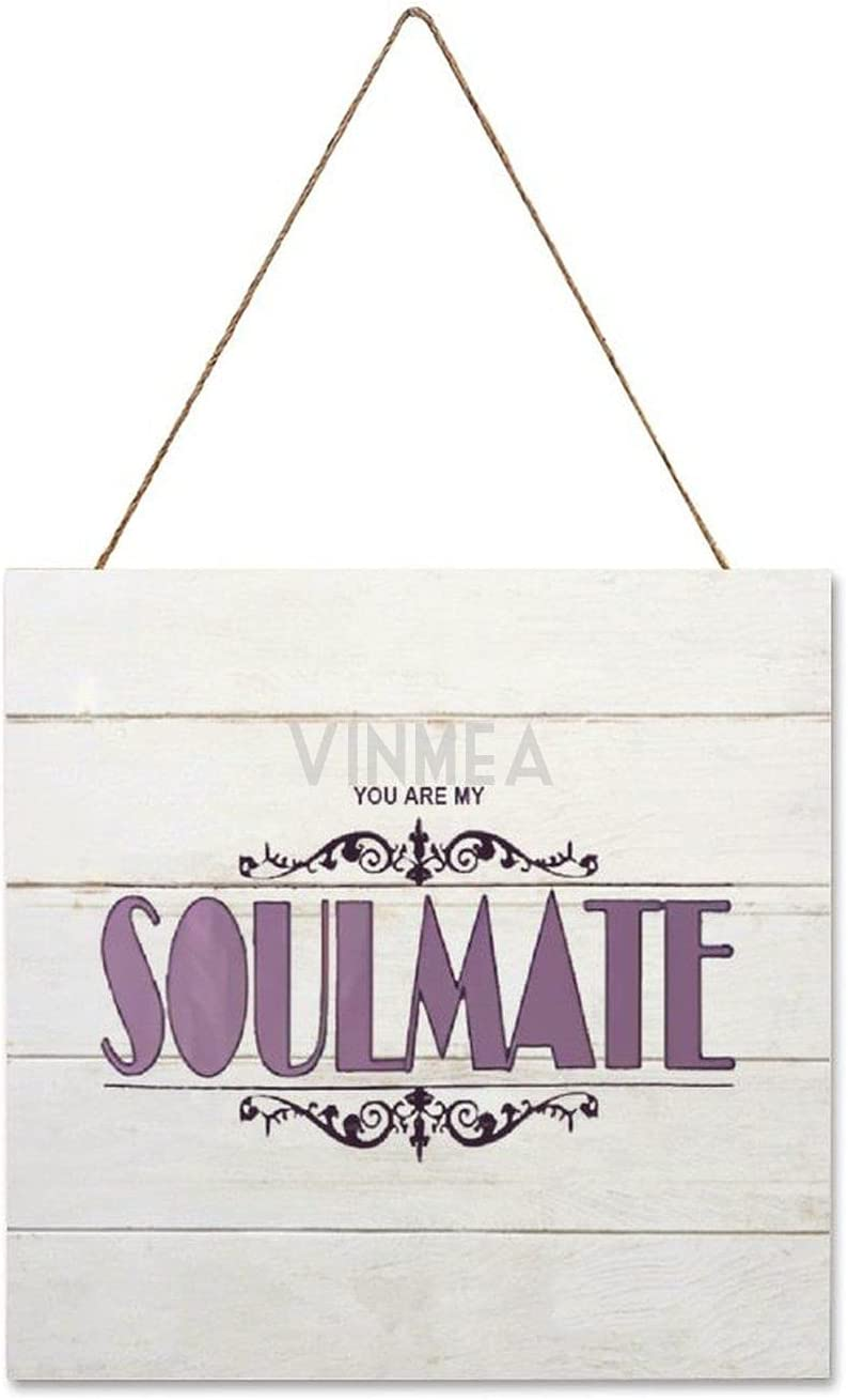 Hanging Wood Sign Plaque Sign You are My Soulmate Wooden Listed Wall Hanging Plaque Wall Decor for Kitchen Living Room Home 16x16 Inch