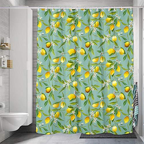 Duschvorhang Polyester Stoff Zitrone Stoff Duschvorhang 240X200 cm Verstärktem Saum Wasserdicht Waschbar Antibakteriell Mit 12 Duschvorhangringen Für Dusche Und Badewanne