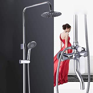 Kuku Bath 4 Models Hot and Cold Shower Set Brass Shower Faucet 20cm Round Top Spray Shower System Silver Lift Home Home