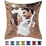 Custom Sequin Pillow Cover Design Mermaid Reversible Covers Personalized Photo Case Magic Decorative Throw Pillows Picture Name Cushion for Couch Home Sofa Party Gifts 16x16 18x18 Champagne Gold