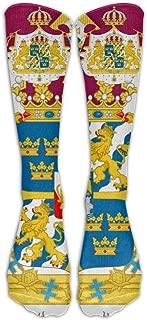 FUNINDIY Sweden National Emblem Compression Socks Soccer Socks High Socks Long Socks For Running,Medical,Athletic,Edema,Diabetic,Varicose Veins,Travel,Pregnancy,Shin Splints,Nursing.