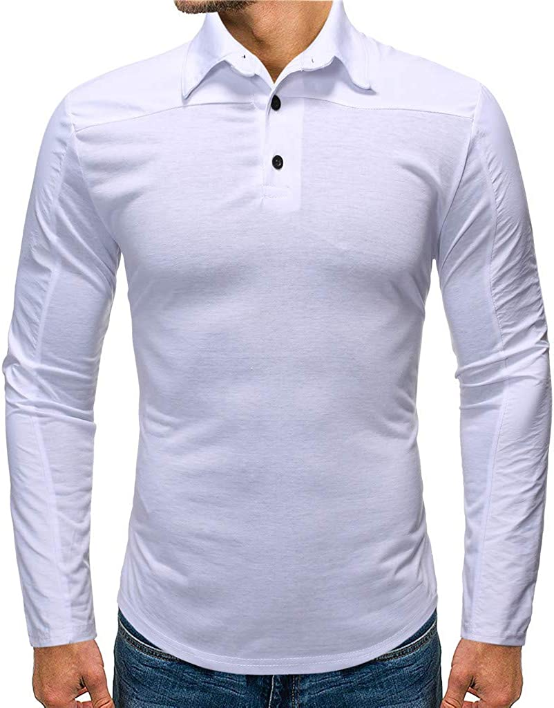 iOPQO Men's Casual Slim Fit Long Sleeve Simple Colorblock Shirt S-2XL