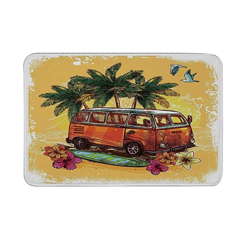 TecBillion Surf Decor Non Slip Door Mat,Hippie Classic Old Bus with Surfboard Freedom Holiday Exotic Life Sketch Style Art Floor Mat for Bathroom Living Room,23