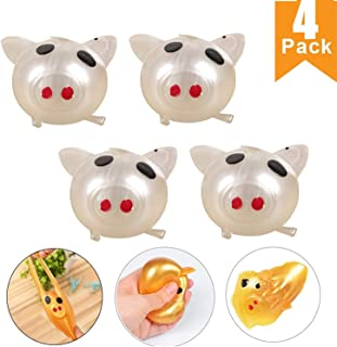 CATSAYS Squishy Pig Splat Ball Stress Reliever Splat Pig Toy Smash Venting Pig Head Squeeze Stress Relief Toy (4Pack)