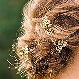 Horquillas Aukmla para el pelo con perlas de cristal, color dorado, accesorios para novias, mujeres y niñas (lote de 3)