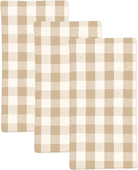 Amazon Com Buffalo Plaid Dish Towels Buffalo Check Dish Towels Plaid Dish Towels Plaid Hand Towels Buffalo Plaid Dish Cloths Cotton Checkered Kitchen Towels Set Of 3 Checked 18x28 Beige