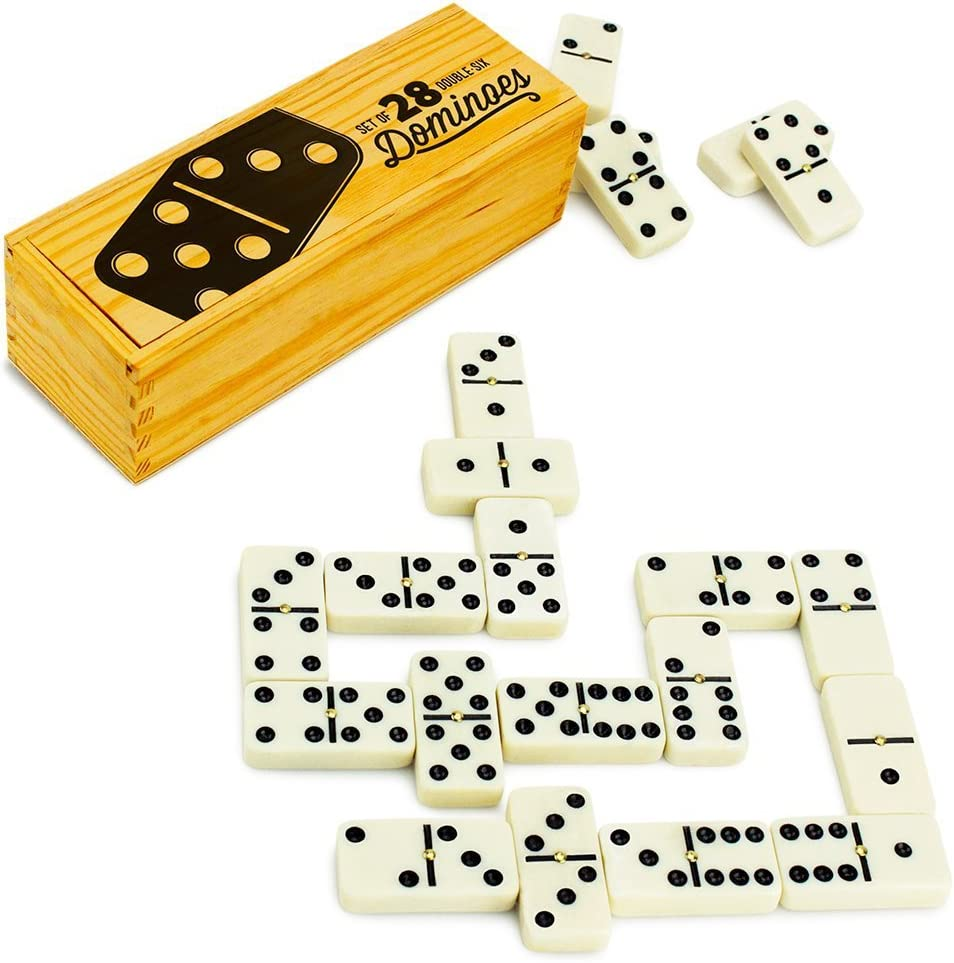 Opening large release sale Brybelly Double Six Dominoes with Stora Spinners Surprise price Brass Wooden in