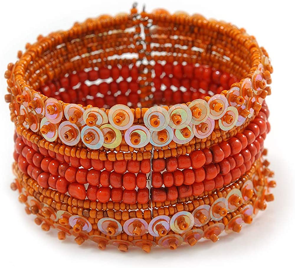 Avalaya Bohemian Beaded Cuff Bangle with Sequin (Orange) - Adjustable