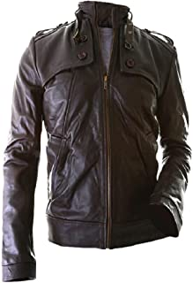 The Leather Factory Men's Lambskin Brown Leather Jacket in Slim Fit Style