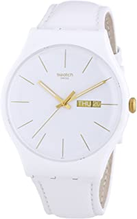 Swatch Womens Quartz Watch, Analog Display and Leather Strap - SUOW703