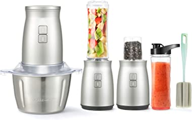 Food Processor, 3 in 1 Set Electric Food Processor 7 PCS Food Chopper Personal Blender 2L Stainless Steel Kitchen Electric Me