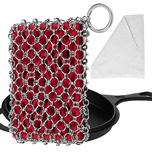 Herda Cast Iron Skillet Cleaner, Upgraded Chainmail Scrubber Chain Scrub for Cast Iron Pan 316 Stainless Steel Metal Scraper Brush for Cast Iron Wok Accessories Cleaning Sponge Tool Kit Cloth Set(Red)