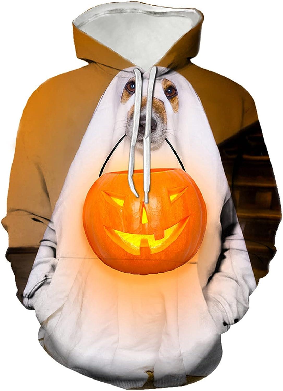Halloween Women Lightweight Hooded Sweatshirt Funny Pumpkin Ghost Print Hoodie Casual Long Sleeve Drawstring Pullover