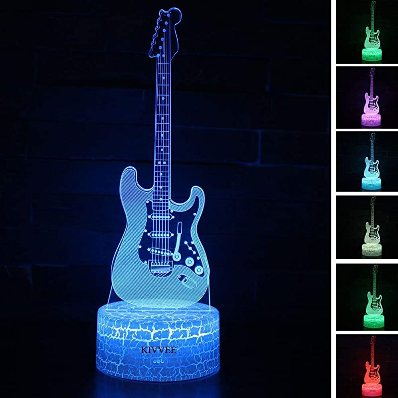 Visual 3D Lamp Electric Guitar Musical Instruments Illusion Night Light Festival Birthday Day Children Gift Nursery Bedroom Desk Table Decoration For Boys Kids Music Lovers By KIVVEE