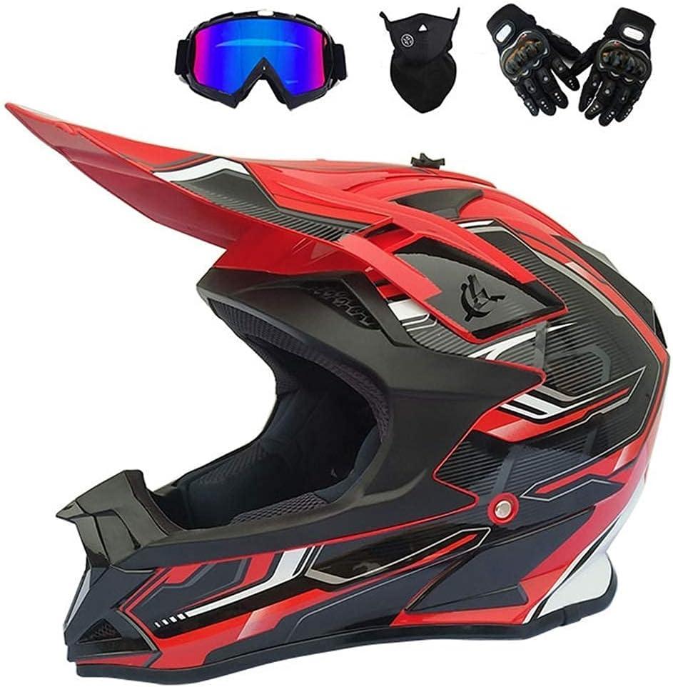 WAHA Casco de Motocross,Casco Cross Adulto con Gafas/Mascarilla/Guantes, Casco Descenso Hombre para Motocicleta DH, Enduro, Quad, ATV-MTB-BMX, Negro Rojo