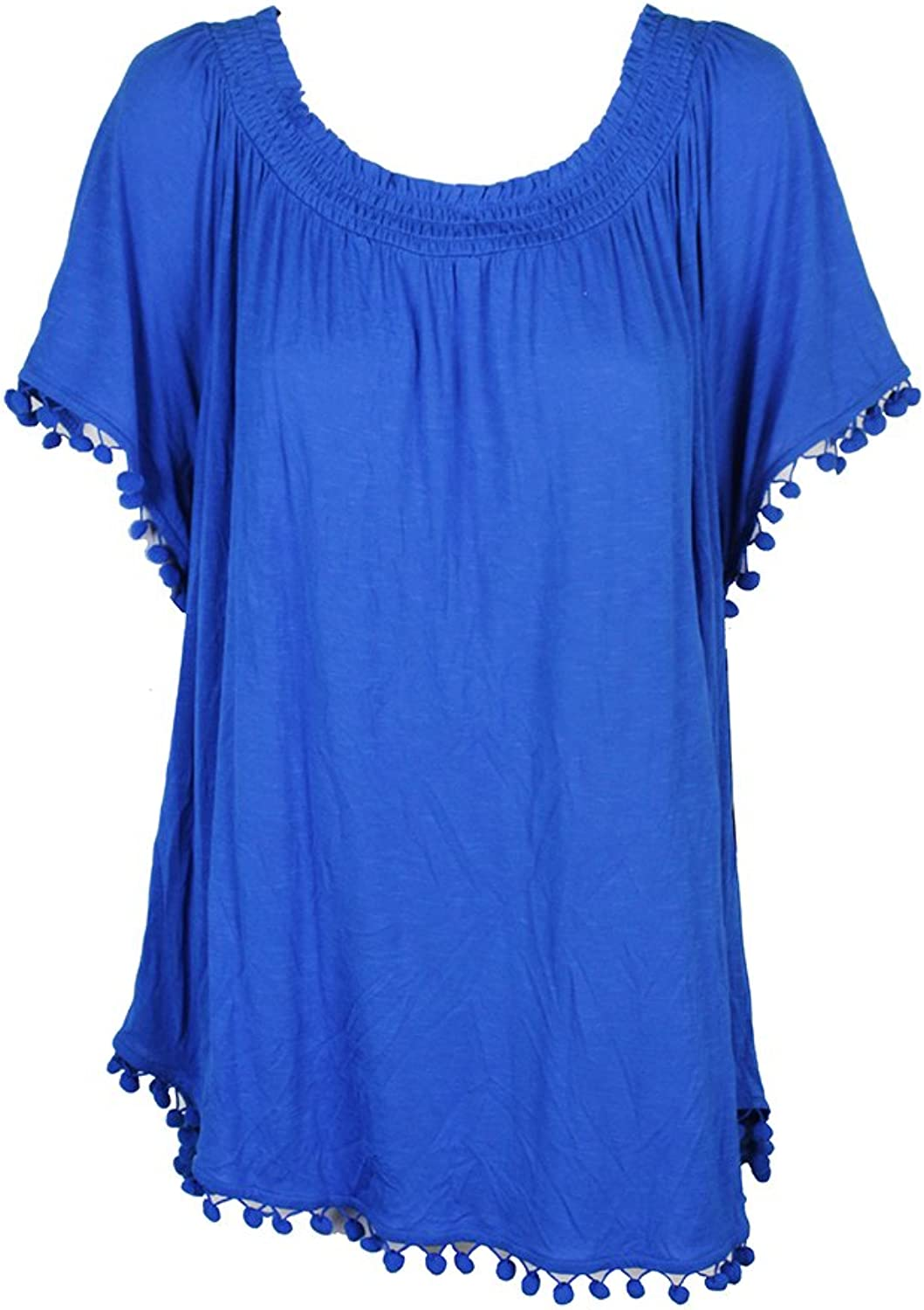 INC Womens Plus Popsicle Jersey Poms Blouse bluee 3X