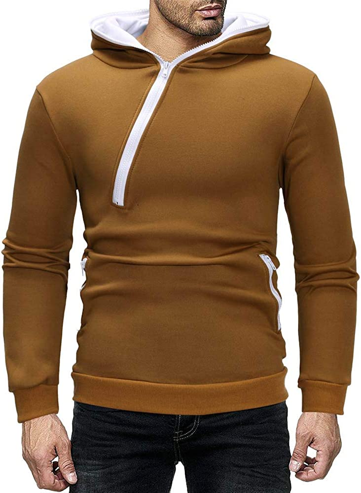DIOMOR Mens Classic 1/3 Zip Cotton Thicken Hoodie with Pocket Fashion Plain Color Pullover Sweatshirt Thermal Outerwear