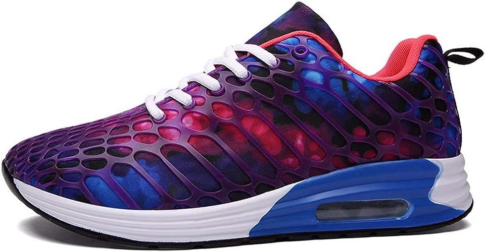 KMJBS-big Taille Chaussures de Sport Running Coussin d'air Chaussures Couple l'argent Jeune personnalité Violet Thirty-Seven