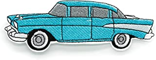 1957 Chevy Bel Air Blue Iron On Embroidered Patch