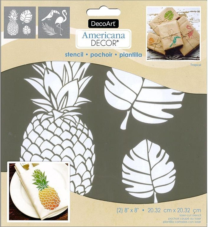 Decoart DECADSK.207 Decor Stencil 8x8 Tropical Americana Decor Stencil 8x8 Tropical