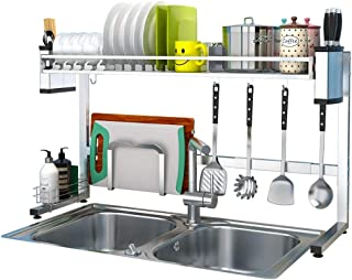 AGWa Étagère de rangement de cuisine domestique, support de séchage de plat au-dessus de l'évier, étagère en acier inoxyda...