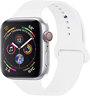 YC YANCH Compatible with for Apple Watch Band 38mm 40mm, Soft Silicone Sport Band Replacement Wrist Strap Compatible with for iWatch Series 5/4/3/2/1, Nike+, Sport, Edition, S/M, White