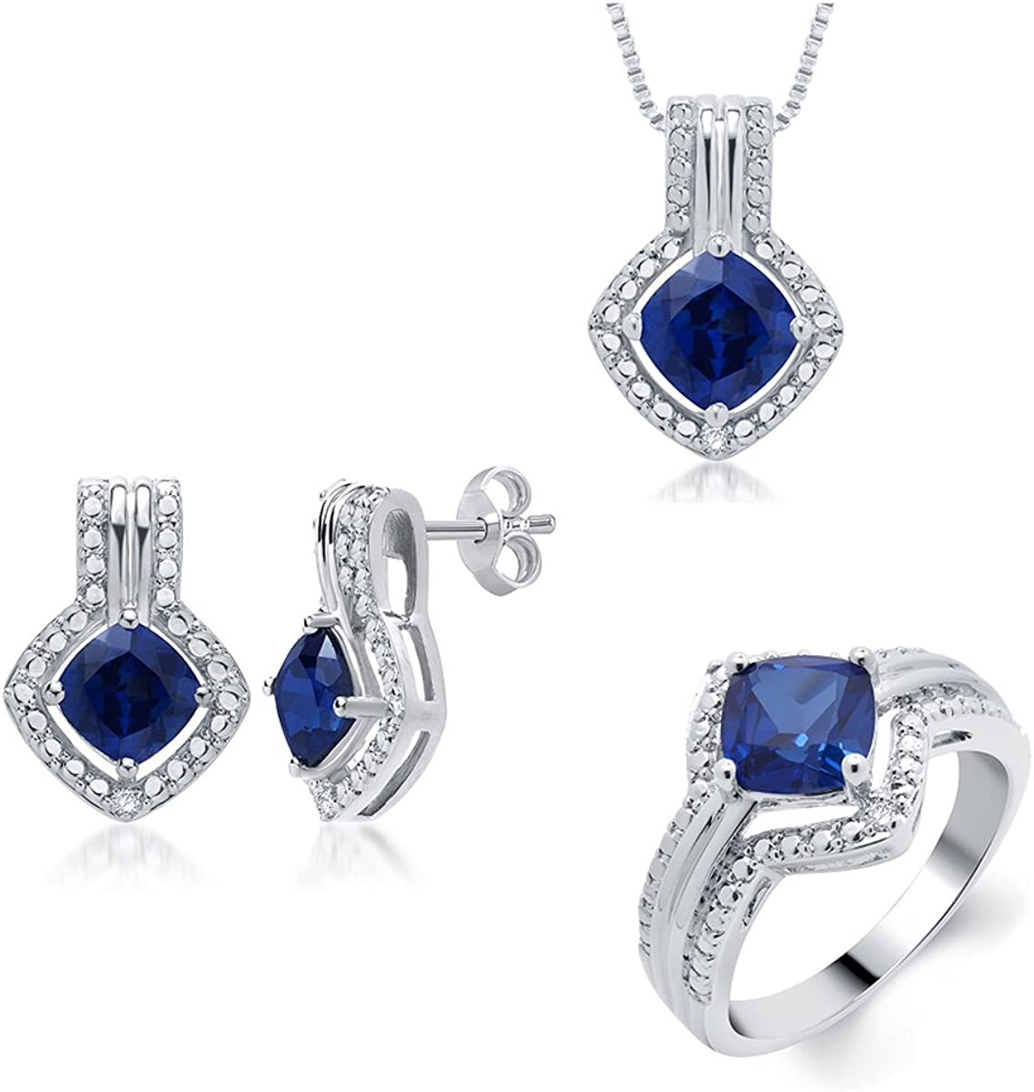 Classic Prong-Set Gold Rhodium over Brass Blue Sapphire and Diamond Accent 3 Piece Set Consists of Pendant Earring and Ring for Women Girls Daily Wear Jewelry | by La4ve Diamonds |Gift Box Included