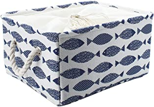 uxcell Rectangle Storage Bins Basket with Rope Handle, Collapsible Laundry Basket Toy Organizer with Drawstring Closure fo...