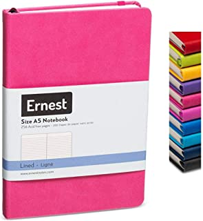Ernest Classic Hardcover Notebook/Journal Pink-Lined, Premium Ivory Paper, Expandable Inner Pocket, Organizational Stickers (pink, lined)