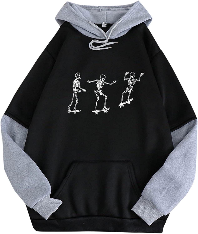 felwors Teen Girls Hoodies, Womens Oversized Tops Sweatshirts Cute Printed Long Sleeve Drawstring Pullover Hoodies