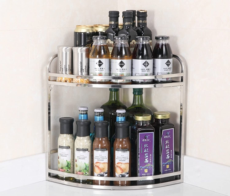 BJLWT 2 3 Tier Kitchen Bathroom Storage Rack,Stainless Steel Shelving Corner Shelf Spice Rack Supplies Goods Racks (Size   A)