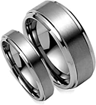 Free Engraving His & Her's 8MM/6MM Brush Center Step Edge Tungsten Carbide Wedding Band Ring Set