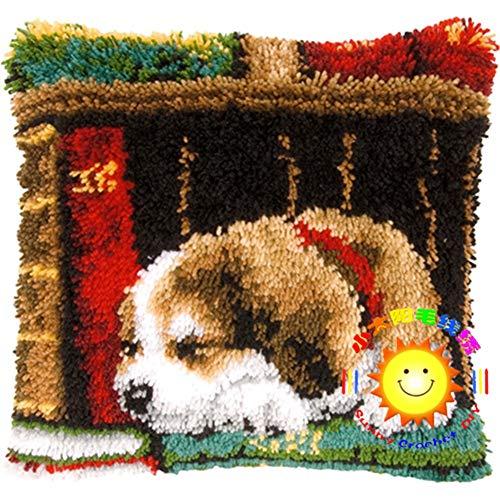 Kits de gancho para bricolaje cuadrado fundas de almohada cojín sofá cojín cubierta búho con patrón impreso ganchillo costura manualidades para niños y adultos, perro biblioteca, 42 x 42 cm