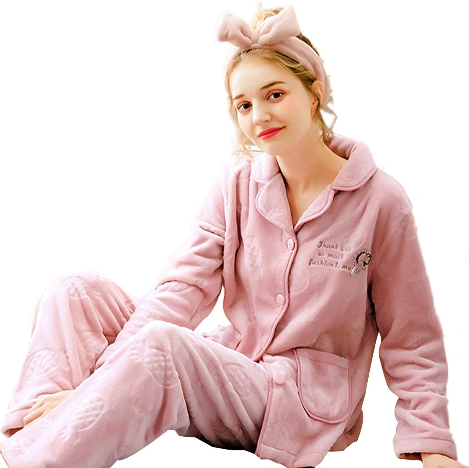 Nightgowns Women's Pajamas Winter Pajamas Autumn and Winter Coral Velvet Pajamas Thickening can be Worn Outside Flannel Warm Sweet Cute Home Service Suit Pajama Sets (color   Pink, Size   L)