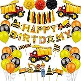 'Construcción Suministros para Fiestas de cumpleaños, excavadora, de Decoraciones para Fiestas de volquete para niños, construcción, Fiesta temática globos para vehículos para niños 48 Piezas'