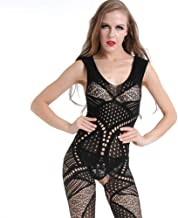 Nightwear Ladies Hollowed Out Free Underwear Perspective Strap Sexy Mesh Clothing Sexy Stockings Underwear (Color : Black, Size : One size)