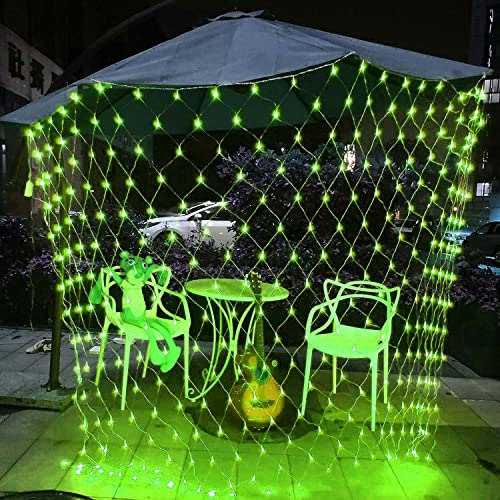 QYK -luci a Rete a Rete, luci da Giardino collegabili da 4,9 Piedi x 4,9 Piedi, 8 modalità di Illuminazione luci fiabesche, luci per Decorazioni da Giardino per Esterni,Verde