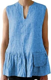 S-Fly Women's Cotton Pleated Plain Sleeveless Shirts Summer V Neck Linen Tank Top
