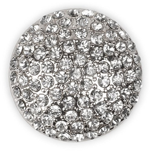styleBREAKER Round Magnetic Jewellery Pendant with Rhinestone for Scarves, Shawls or Ponchos, Brooch, Ladies 05050039, Color:Silver