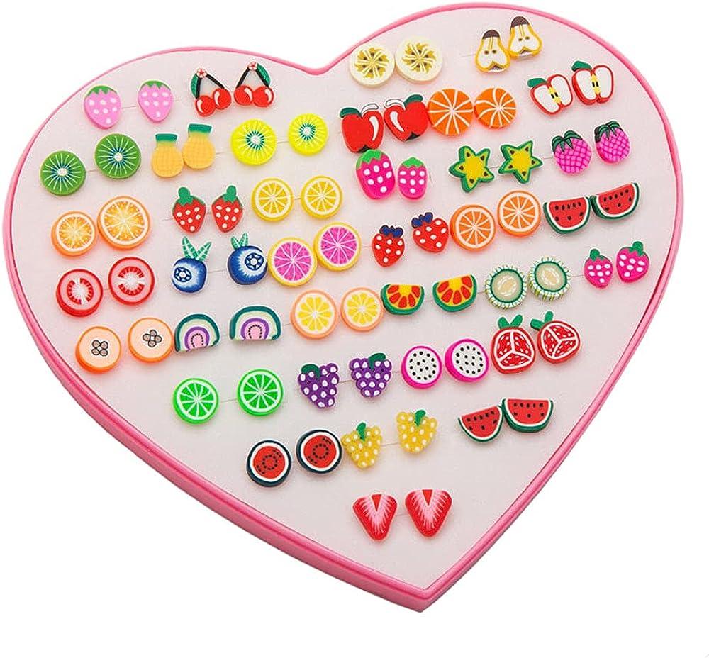 CMJLBM 36 Pairs Stud Earrings Set Cute Animal Butterfly Small Hypoallergenic Plastic Post Earrings for Kids Teen Girls Women