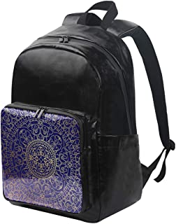 DEZIRO mochila de lona oriental azul y dorado hippie mandala mochila de viaje plegable mochila al aire libre ajustable correas de hombro